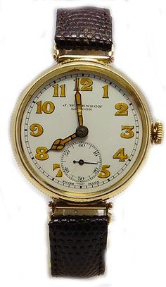 Jw Benson Trench Style Solid 9k Gold Vintage Watch 1920s
