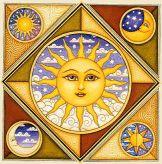 Celestial tiles-Sun and Moon-Celestial Rise Above-Tile Mural Sun Moon Stars, Sun And Stars, Pictures Of The Sun, Sun Pics, Cartoon Sun, Good Day Sunshine, Sun Art, Tile Murals, Moon Design