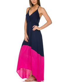 Look at this Mittoshop Navy & Hot Pink Color Block Halter Maxi Dress on #zulily today!
