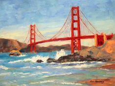Golden Gate Bridge Baker Beach San Francisco California Original Painting by KimStenbergFineArt, $200.00