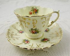 Aynsley Tea Cup and Saucer with Flowers and Gold Filigree, Square Shape, Vintage Tea Cup, Bone China