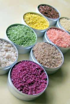 "A Rainbow of Salt! Learn about the different types of gourmet salt and how to use them -- Fleur de Sel, Sea Salt, Black ""Lava"" Salt, Pink Sea Salts, and Pink Himilayan Rock Salt: http://eat.snooth.com/articles/a-rainbow-of-salt/"