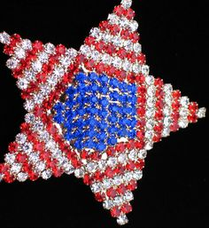 """PRONG SET AMERICAN PATRIOTIC RED WHITE BLUE USA FLAG STAR PIN BROOCH JEWELRY 2+"""""""