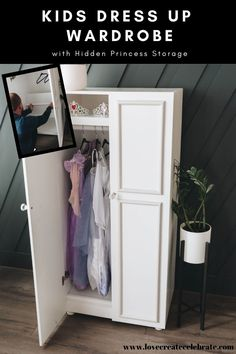 DIY Kids Dress Up Wardrobe! Looking for new dress-up storage ideas? This DIY kids wardrobe is the perfect place to organize all of those dress-up clothes and princess dresses. Can be used for girls, boys, or toddlers, and is perfect for play rooms and small spaces. Includes a hidden compartment for your kids to hide their treasures! Grab the free build plans for this great DIY gift idea for birthdays or Christmas! #woodworking #kids #freebuildplans #dressup