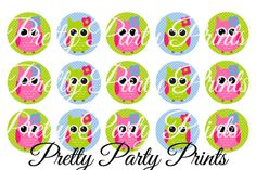 Instant Download Three Color Owls 1 inch by PrettyPartyPrints, $1.50