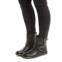 womens dr martens black elate gayle biker boots