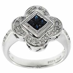 0.60 Cttw Round Diamonds and Princess Cut Sapphire Cocktail Ring 14K White Gold #Cocktail