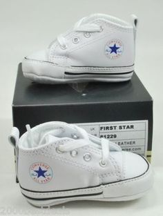 Converse New Born Crib Booties Boys Girls Whie Leather First Star Baby Shoes #Converse #CribShoes