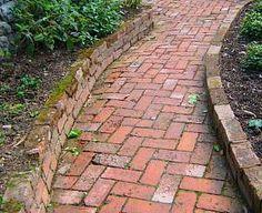 Find this Pin and more on Brick Paths & Mosaic Pebble Ideas for Small Gardens. Brick Pathway, Brick Garden, Garden Paths, Garden Landscaping, Backyard Seating, Backyard Patio, Path Edging, Small Gardens, Dream Garden