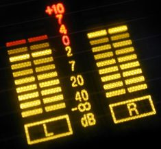 Levels display for left and right speakers on an audio system marked in decibels - free stock photo from www.freeimages.co.uk