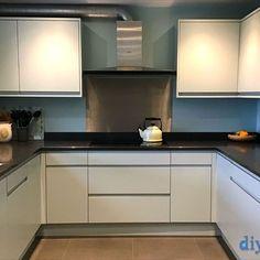 An Innova Luca Cornflower Blue Handleless Kitchen Diy Kitchen, Kitchen Cabinets, Handleless Kitchen, Kitchens, Design, Home Decor, Blue, Decoration Home, Room Decor