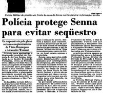 O jornal Estado de São Paulo revelou a ameaça de sequestro de Ayrton em 1990. (Foto: Reprodução Arquivo Estado de São Paulo)