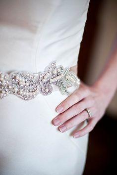 Swarovski Crystal Bridal Sash Belt w pearls