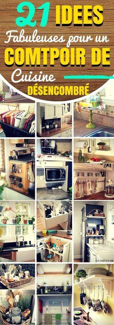 La cuisine est le seul endroit de la maison où toute la famille peut être réunie pour cuisiner. C'est donc tout à fait naturel que beaucoup de choses s'y accumulent. Mais que diriez-vous d'avoir une cuisine sans encombrement ? Cela nécessite un peu de travail, mais ça change la vie ! Sur le comptoir de la cuisine, on peut trouver des piles de papiers, des livres, des ustensiles de cuisine, des petits appareils électroménagers … #rangement #organisation #cuisine #astuces