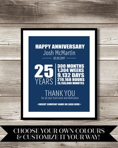 25 year work anniversary print gift digital print customizable thank you gift