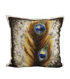 Peacock Feather White Cotton Hand Painted Cushion Covers