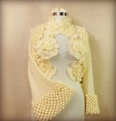 Gillyflowers of Spring / Knit Crochet Shrug Ivory Wedding Bridal Shrug Bolero  Bridesmaid Wrap Bolero Jacket Knit Shrug By Lilithist