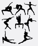 Vector: Beautiful dancer pose performing silhouette. Male and female dance pose. Good use for symbol, logo, web icon, mascot, game elements, mascot, sign, sticker design, or any design you want. Easy to use.