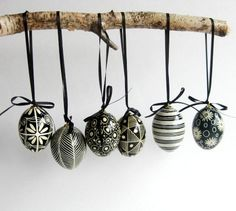 Black and White egg ornament set set of 6 by UkrainianEasterEggs #6geesealaying