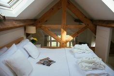 The romantic mezzanine bedroom with two huge skylights above - perfect for star gazing!
