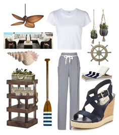 """""""Beach Living"""" by kotnourka ❤ liked on Polyvore featuring Tommy Hilfiger, RE/DONE, Thos. Baker, Dot & Bo, Universal Lighting and Decor, Adeco and Authentic Models"""