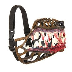 Looking for a one-of-a-kind dog muzzle? Black in color, this dog muzzle features a realistic dog nose along with large scary teeth! The Werewolf dog muzzle is available in a variety of different sizes: (circumference in cm). Scary Dogs, Funny Dogs, Doberman Funny, Furry Tails, Dog Muzzle, Dog Nose, Aggressive Dog, Cool Pets, Dog Behavior