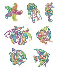 Mehndi Sea Life Set 1 Machine Embroidery Designs by JuJu Starfish jellyfish seahorse fish Embroidery Store, Embroidery Sampler, Embroidery Transfers, Embroidery Patterns Free, Vintage Embroidery, Embroidery Files, Embroidery Thread, Embroidery Online, Embroidery Tattoo