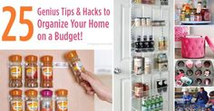 25 Genius Tips and Hacks to Organize Your Home on a Budget by Amy Locurto of LivingLocurto .com