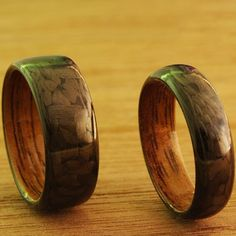 Carbon fiber ring with walnut inlay  Did you know Walnuttree can reach 40 to 60 feet in height and develop a crown of the same size.  #carbonfiberlifestyle #carbonfiber #carbon #ring #wood #inlay #walnut #tree #jewelry #lifestyle #style #wedding #black #brown #men #female