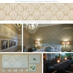 One Stencil, One Home, Four Decor Projects