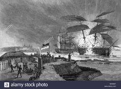 """eventos, Primera Guerra Schleswig 1448 - 1851, batalla naval de Eckernfoerde, 05/04/1849, explosión del buque de guerra danés """"Christian VIII"""