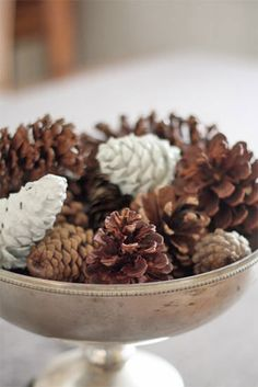6 Simple DIY Thanksgiving Centerpieces | The   Just a few white pone cones really improves this centerpiece.