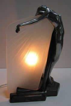 Frankart Butterfly Nymph in Polished Aluminum+Glass Art Deco Table Lamp  1  1