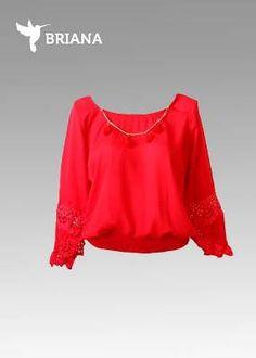 #blusa #roja con #encaje en #mangas y #resorte al #final