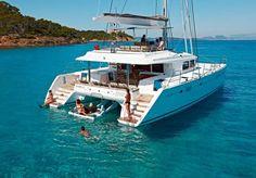 Sailing in Santorini with Sunset Oia luxury yachts. Sail around Caldera during Sunset and embark on tour around Santorini. Sailing yacht rentals in Santorini. Catamaran Design, Catamaran Charter, Sailing Catamaran, Charter Boat, Yacht Boat, Dinghy Sailboat, Catamaran Rental, Luxury Sailing Yachts, Luxury Boats