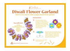 To celebrate Diwali, the Festival of Lights, your child can make this beautiful flower garland craft activity!
