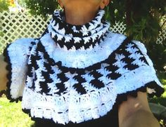 Black and White Houndstooth Crochet Scarf by LolasCustomJewelry, $69.00