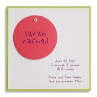 Kiwi and Pink Swivel Circle Birth Announcement by Luscious Verde