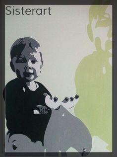 Kind, 10 maanden oud in zwart/wit/grijs met vergroot schaduw in kleur. Popart-SisterArt.