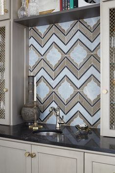 Small but mighty design! Click the image to view more photos from this project! #interiordesign #tiledesign #luxurydesign #winebar #collectiondesignlifestyle Wet Bar Designs, Saturated Color, City Living, Home And Deco, Tile Design, Best Hotels, Kitchens, New Homes, Sweet Home
