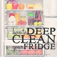 Is your fridge looking a little dirty? It may be time to deep clean your fridge! A mess fridge is can make you sick and even end up costing you money, Keep your refrigerator squeaky clean and organized with this step-by-step guide. Deep Cleaning Tips, Cleaning Recipes, House Cleaning Tips, Diy Cleaning Products, Cleaning Solutions, Spring Cleaning, Cleaning Hacks, Cleaning Checklist, Clean Fridge
