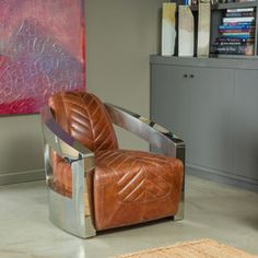 Efrain Top Grain Brown Leather Arm Chair