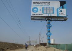 Billboard which creates drinking water from humidity produces 15,000 litres of water in Peru