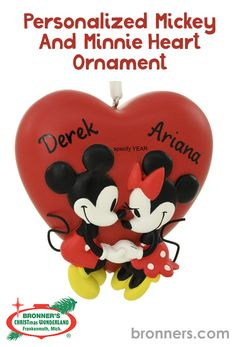 Personalized Mickey And Minnie Heart Ornament from Bronner's Christmas store of Christmas ornaments and Christmas lights Christmas Store, Christmas Lights, Christmas Ornaments, Hand Heart, Drawn Together, Heart Ornament, Personalized Ornaments, White Ribbon, Paint Pens
