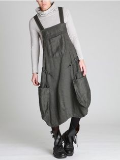 THICK LINEN OVERALLS -