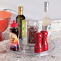 mDesign - Bandeja giratoria organizadora de especias o condimentos; para alacena de la cocina, gabinete, mesadas - 2 niveles - Claro