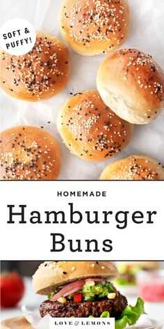 Homemade Hamburger Buns, Hamburger Bun Recipe, Homemade Hamburgers, Vegetarian Recipes, Cooking Recipes, Healthy Recipes, Bread Recipes, Cooking Ideas, Healthy Food