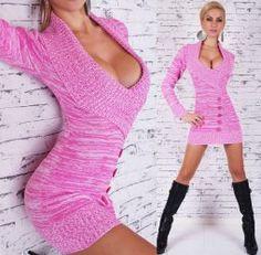 Pink fehér kötött tunika   miniruha - Női ruha webáruház b5795d3bff