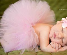 Baby TUTU Pink with Flower Headband - Newborn to 2T - The Classic Pink Tutu is perfect for Newborn Photos and Spring. $39.99, via Etsy.