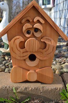 Large Gentleman Cedar Birdhouse by InkedWoodworking on Etsy